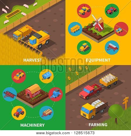 Agricultural machinery 4 isometric icons square composition poster with tractor combiner harvesting farmers equipment abstract vector illustration