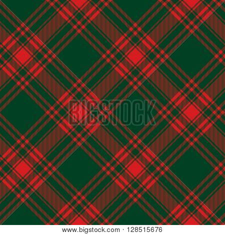 Menzies tartan green red kilt diagonal fabric texture background seamless pattern.Vector illustration. EPS 10. No transparency. No gradients.