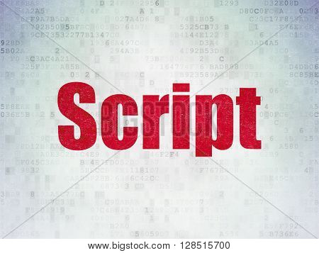 Software concept: Painted red word Script on Digital Data Paper background