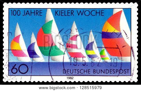 STAVROPOL RUSSIA - May 04 2016: a stamp printed by Germany shows Kiel Regatta Week Centenary circa 1982