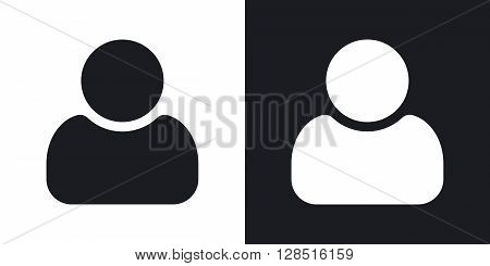 User icon vector. Two-tone version on black and white background