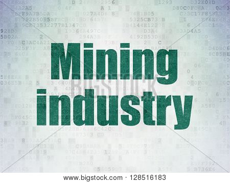 Industry concept: Painted green word Mining Industry on Digital Data Paper background