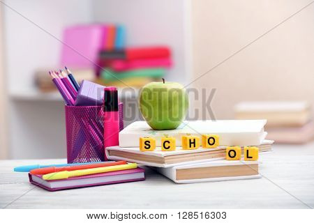 Stationery set for school on the table
