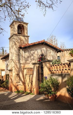 Small church in Tlaquepaque Arts and Crafts Village in Sedona, Arizona