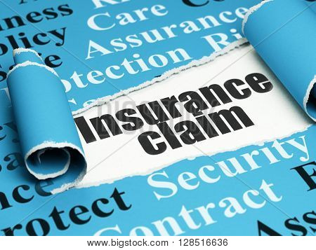 Insurance concept: black text Insurance Claim under the curled piece of Blue torn paper with  Tag Cloud, 3D rendering