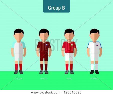 soccer uniform group B. flat design. vector