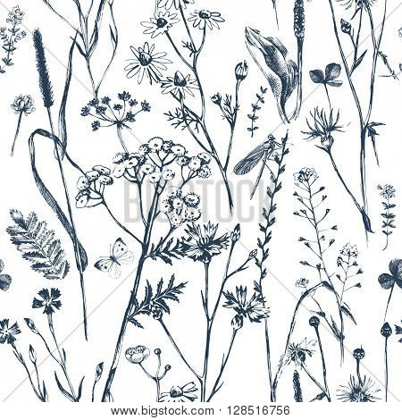 Hand drawn seamless with black and white herbs and flowers