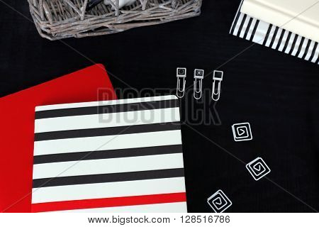 Office supplies on a table closeup