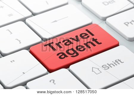 Travel concept: computer keyboard with word Travel Agent, selected focus on enter button background, 3D rendering
