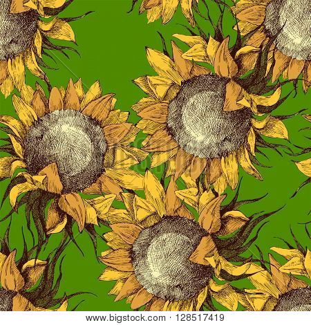 seamless vintage ornament with sunflowers on green background