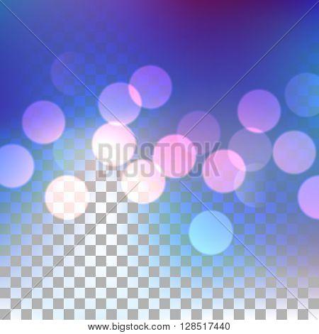 Blue bokeh effect on transparent background