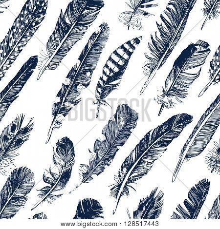 seamless pattern with hand drawn feathers on white background