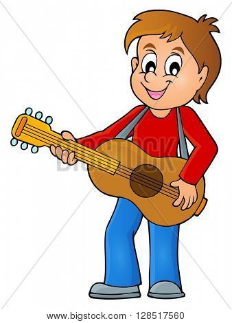 Boy guitar player theme image 1 - eps10 vector illustration.