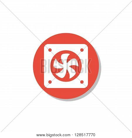 Fan Icon In Vector Format. Premium Quality Fan Symbol. Web Graphic Fan Sign On Red Circle Background