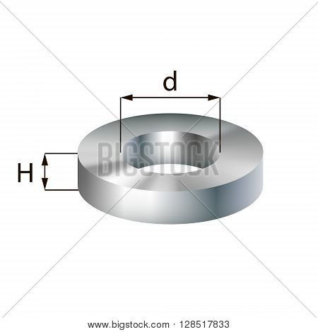 Steel disc with hole industrial metal object. Vector illustration. EPS 10.