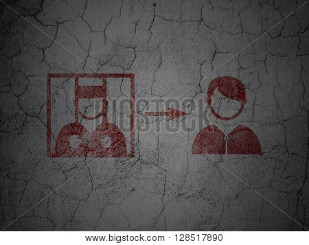Law concept: Red Criminal Freed on grunge textured concrete wall background