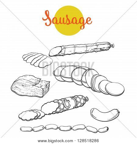Set sausages, vector sketch hand-drawn salami, Meat products isolated on white background, Ready sausage, salami, bacon, sausages, bacon, meat organic farming, ready meals, sliced sirvelat