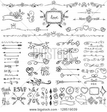 Doodles flourish decor set.Border, dividers, frames and arrows.For design templates, invitations and menu.Vintage Hand drawing .Weddings, Valentines day, holidays, birthday Vector