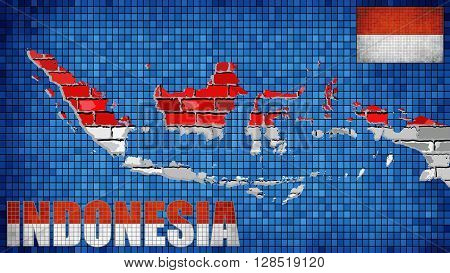 Indonesia map on a brick wall - Illustration, 