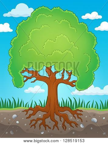 Tree with roots theme image 2 - eps10 vector illustration.