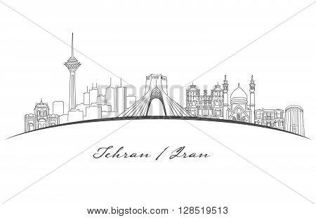 Tehran Famous Landmarks Panorama