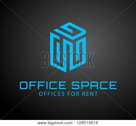 Vector logo concep for office spase rent or building construction, design template. Abstract emblem. Emblem with cube elements. Vector logo for corporate identity.