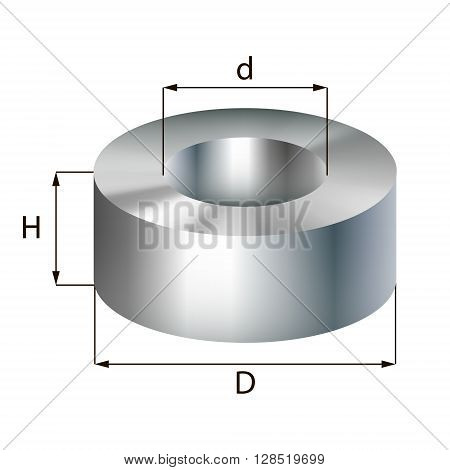 Steel ring industrial metal object. Vector illustration. EPS 10.