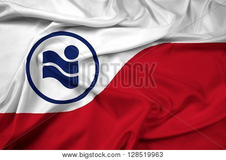 Waving Flag of Irving Texas, with beautiful satin background.
