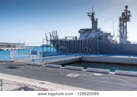 MALAGA, SPAIN - SEPTEMBER 4, 2014: War ship at the Malaga Marina
