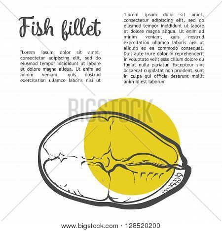 Salmon fillet, vector sketch narisovany of hands isolated on white background fillet of red sea fish sectional lettering inscription Fish Fillet, sketch illustration of sea food,  fish in context of
