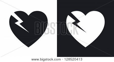 Vector break heart icon. Two-tone version on black and white background
