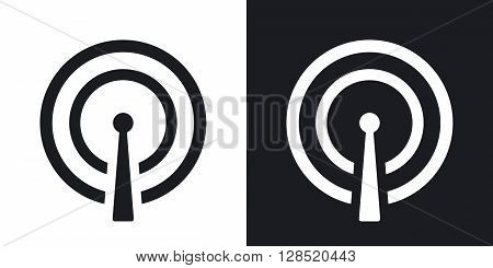 Vector broadcasting icon. Two-tone version on black and white background