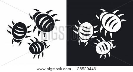 Vector bugs icon. Two-tone version on black and white background