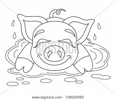 Vector illustration of cute pig in a puddle, funny piggy resting on water puddle, coloring book page for children