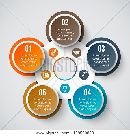 Vector circle element for infographic. Template for cycle diagram, graph, presentation and round chart. Business concept with 5 options, parts, steps or processes. Abstract background.