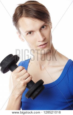 Smiling fitness instructor on a white background