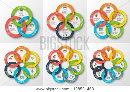 Vector rings for infographic. Template for cycle diagram, graph, presentation and round chart. Business concept with 3, 4, 5, 6, 7 and 8 options, parts, steps or processes. Data visualization.