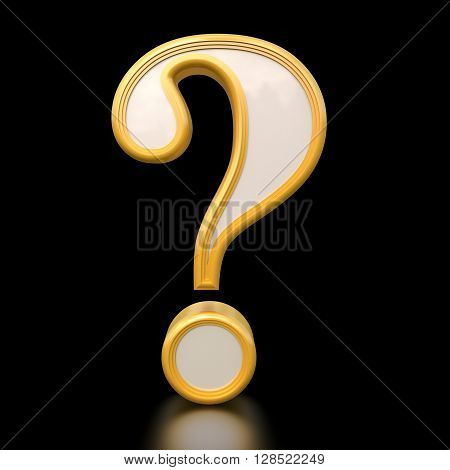 Gold question mark. Isolated on black background 3d