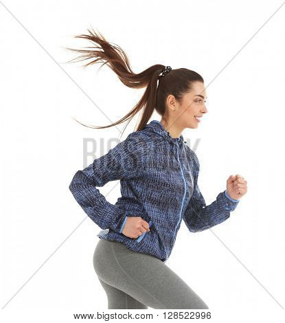 Sporty woman jogging isolated on white