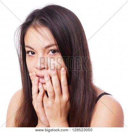 portrait of young asian woman in shock