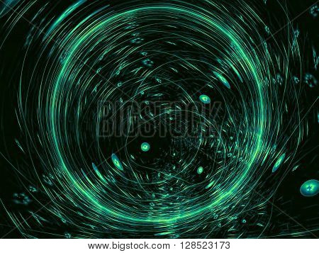 abstract background of chaotic green with a metallic sheen circles. Tech modern background -computer-generated image. Fractal artwork for covers, banners, web design.