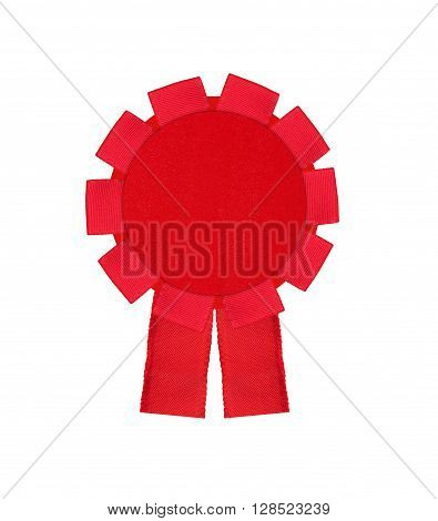 red award winning ribbon rosette isolated on white background