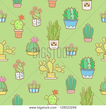 Floral seamless pattern with different cartoon cactuses  on a green background. Different types of cacti. Vector image. Doodle style.