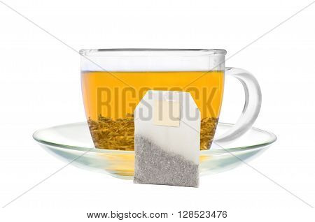 Transparent cup of green tea and tea bag isolated on white background