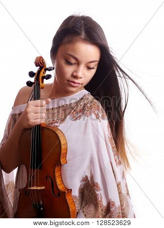 beautiful young asian woman holding violin music instrument