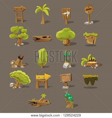 Landscaping Design Set Of Flat Vector Icons For The Flash Game Design
