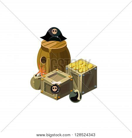 Treasure And Bombs Colorful Vector Icon In Childish Toy Style Design Isolated On White Background