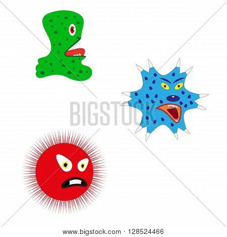 Vector illustration of running from fear cartoon monsters. Cartoon germs, bacteria and viruses. Isolated on white background. Harmful microorganism.