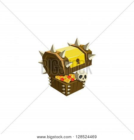 Chest With Treasure Colorful Vector Icon In Childish Toy Style Design Isolated On White Background
