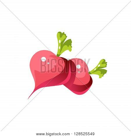 Turnip Bright Color Simple Illustration In Flat Vector Cartoon Design Isolated On White Background